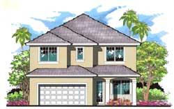Florida Style Home Design Plan: 73-174