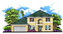Florida Style Home Design Plan: 73-178