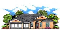 Florida Style Home Design Plan: 73-180