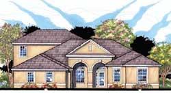 Florida Style Home Design Plan: 73-196