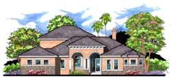 Florida Style Home Design Plan: 73-205