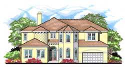 Mediterranean Style Home Design Plan: 73-212