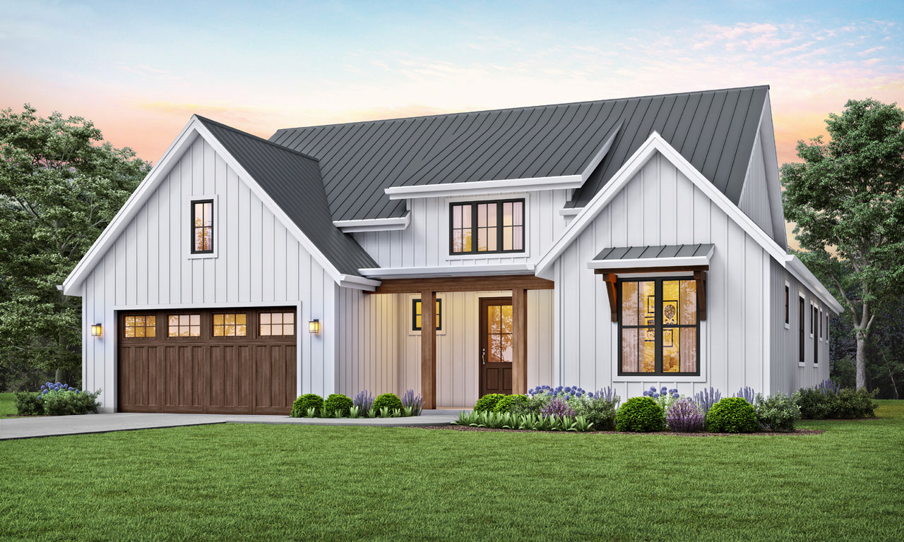 Modern-farmhouse Style House Plans Plan: 74-101