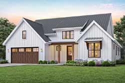 Modern-Farmhouse Style Home Design Plan: 74-101