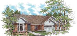 Ranch Style Home Design Plan: 74-122