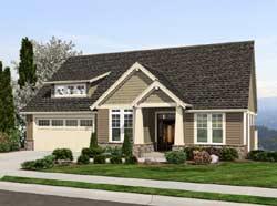 Craftsman Style Home Design Plan: 74-199