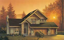 Craftsman Style Home Design Plan: 74-249