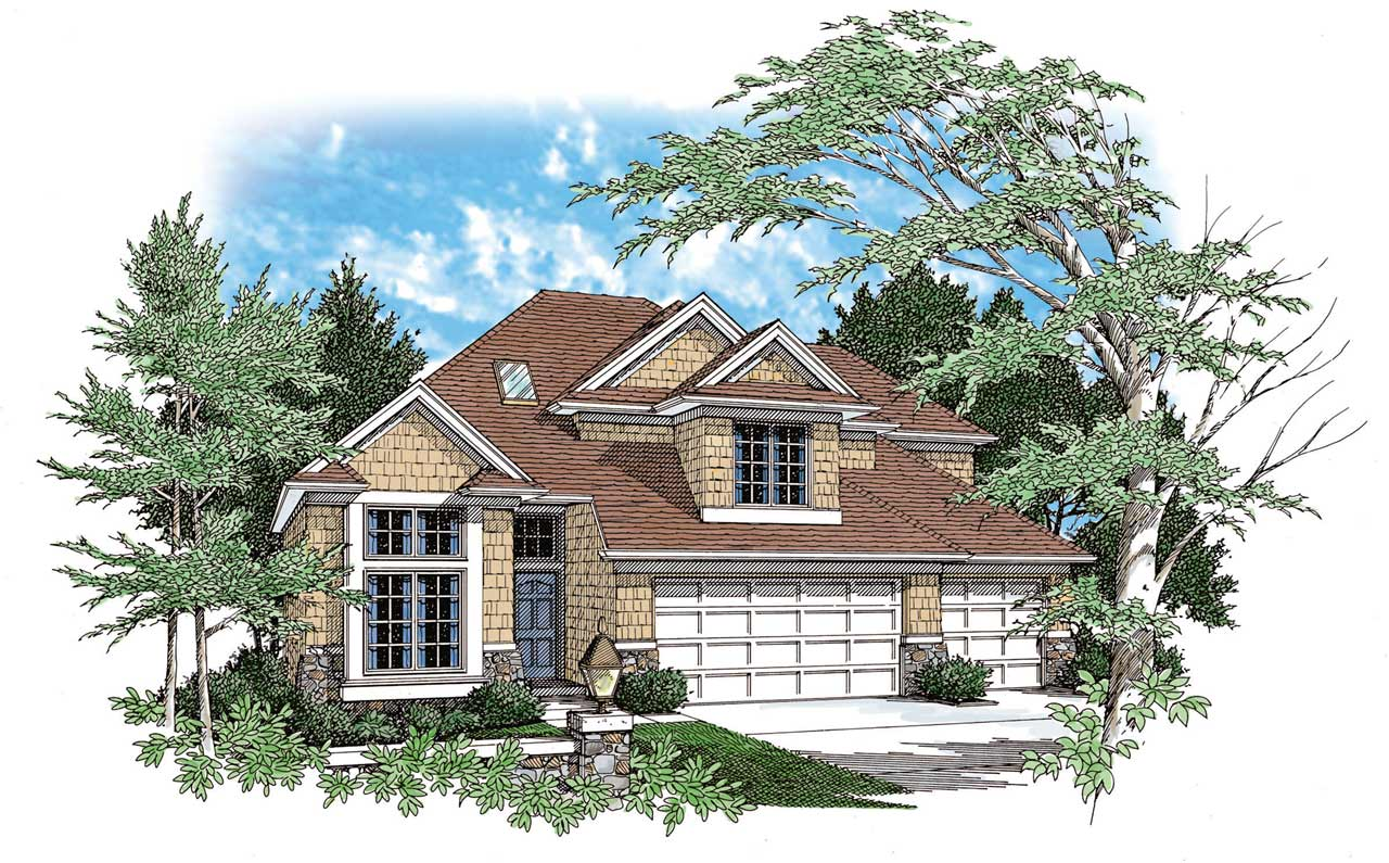 Craftsman Style Home Design 74-259