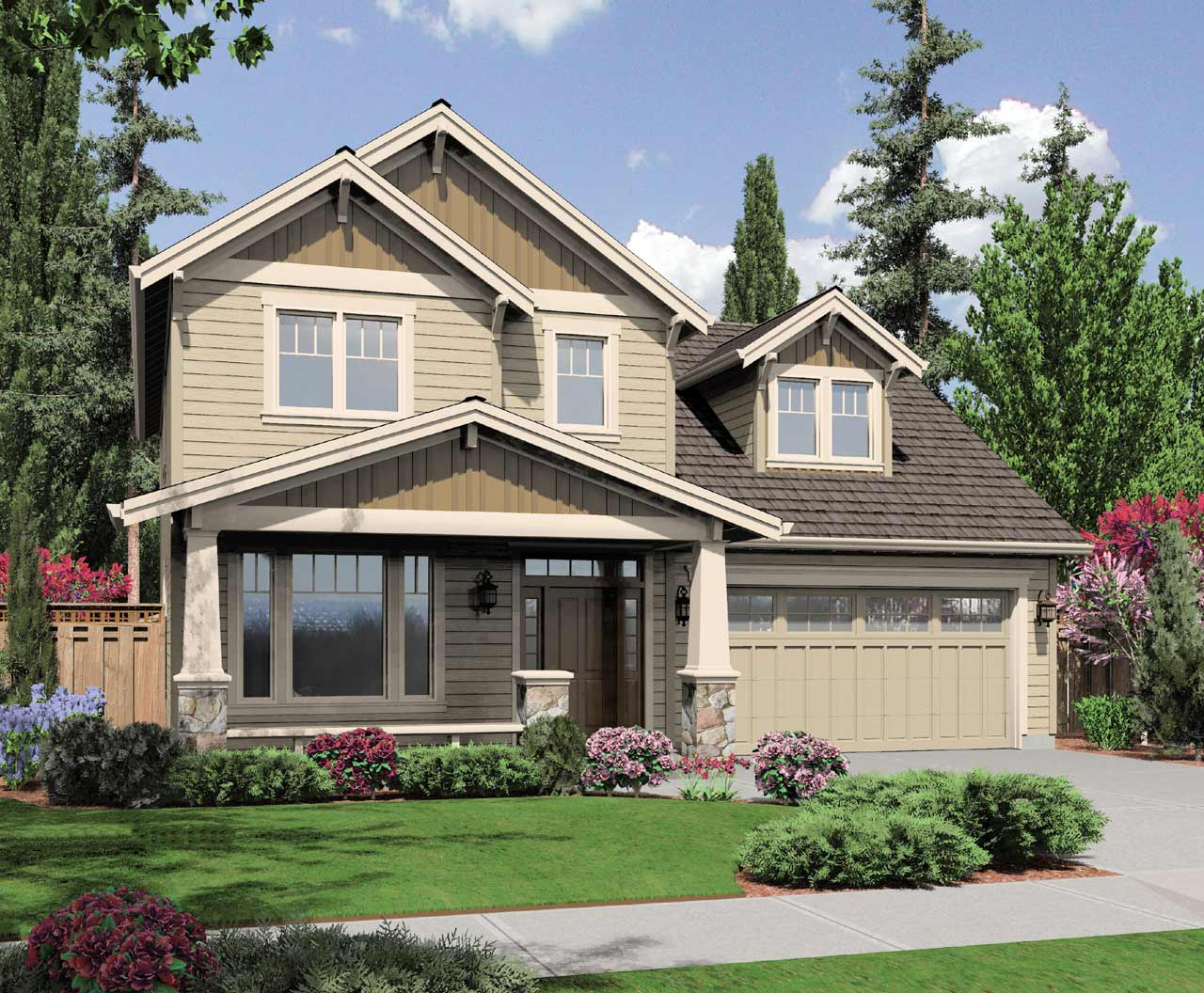 Craftsman Style Home Design 74-273