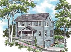 Coastal Style Home Design Plan: 74-286