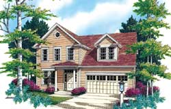 Cape-Cod Style Home Design Plan: 74-291