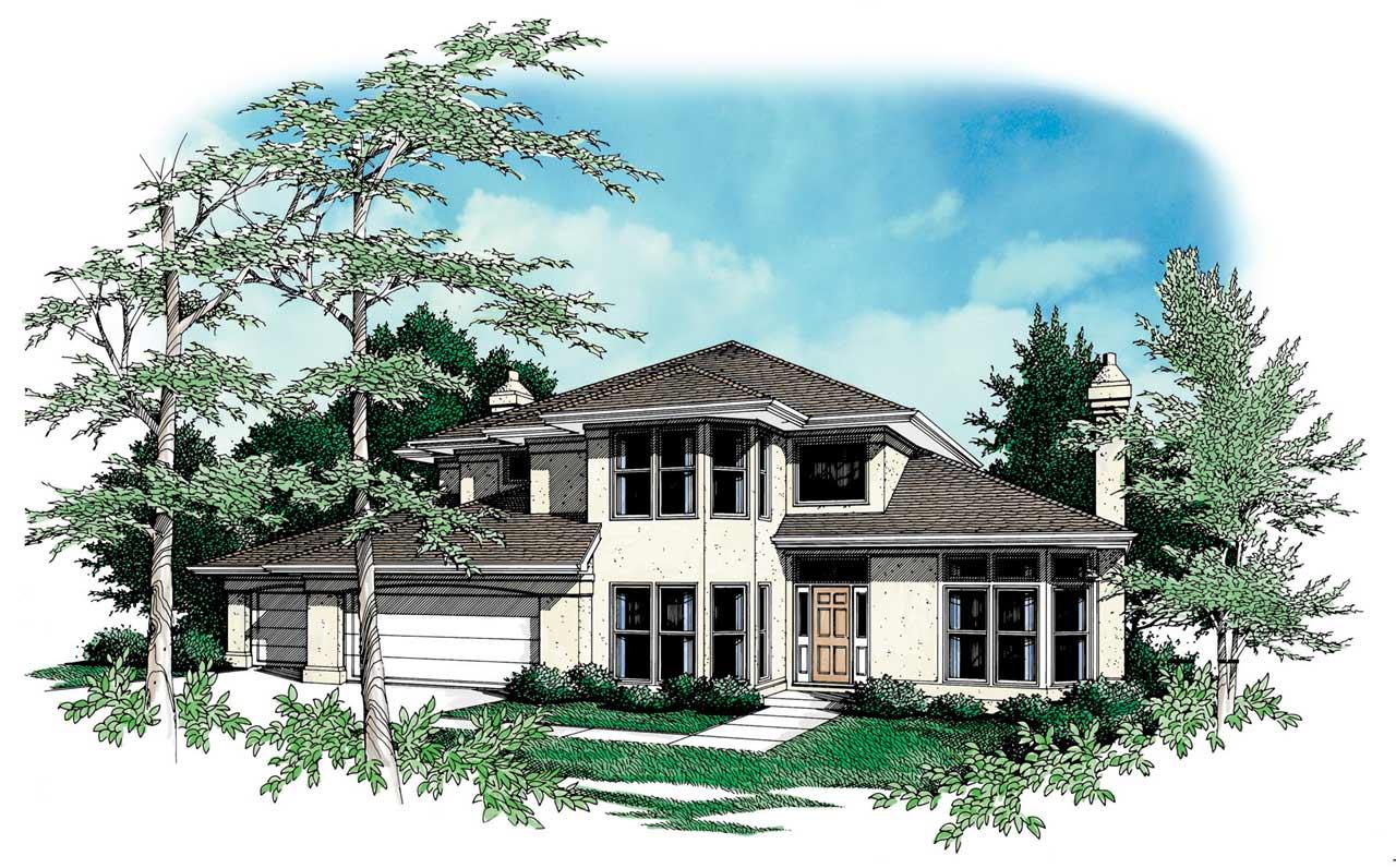 Contemporary Style Home Design Plan: 74-306