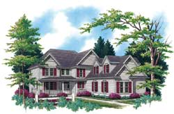 Colonial Style Home Design Plan: 74-333