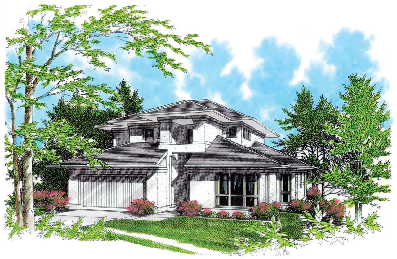 Contemporary Style Floor Plans Plan: 74-356