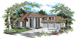 European Style Home Design Plan: 74-366