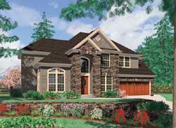 European Style Home Design Plan: 74-400
