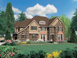 French-Country Style Floor Plans Plan: 74-401