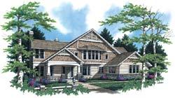 Craftsman Style Home Design Plan: 74-430