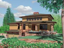 Prairie Style Home Design Plan: 74-445