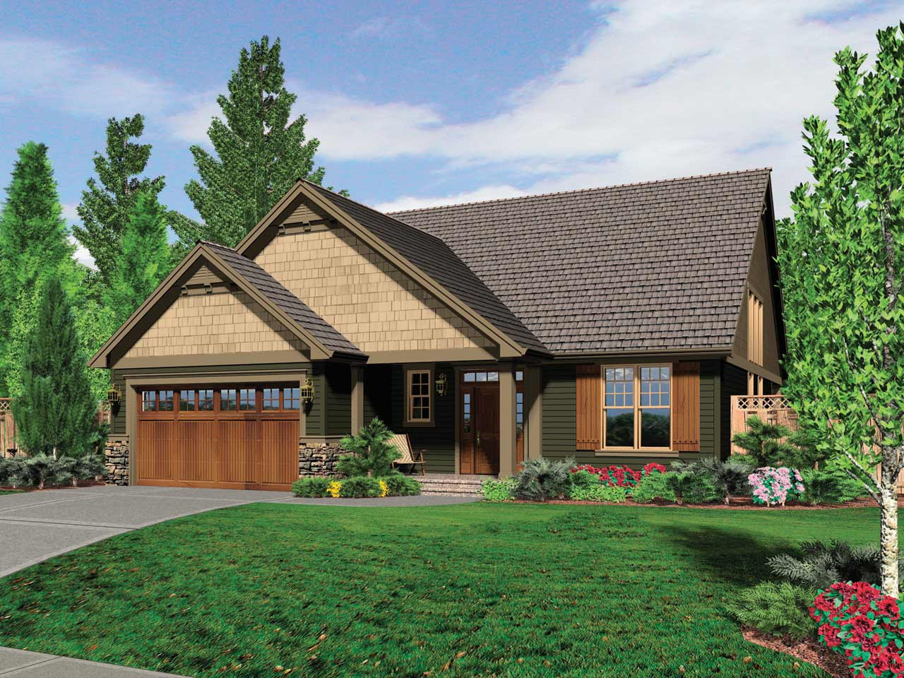 Craftsman Style Home Design Plan: 74-533
