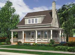 Cape-Cod Style Home Design Plan: 74-547