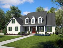 Cape-Cod Style Home Design Plan: 74-584