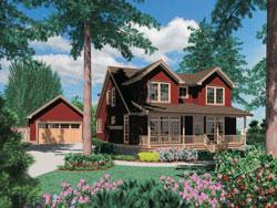 Cape-Cod Style Home Design Plan: 74-619