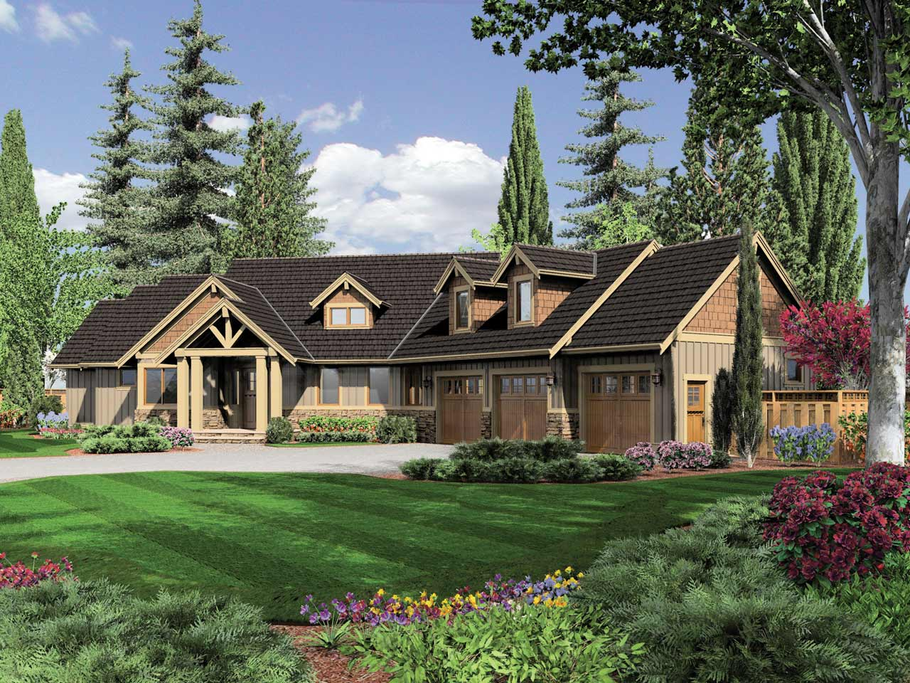 Craftsman Style Home Design 74-643