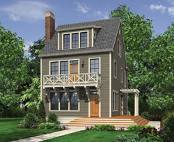 Colonial Style Home Design Plan: 74-665