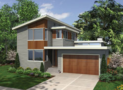 Contemporary Style Home Design Plan: 74-672
