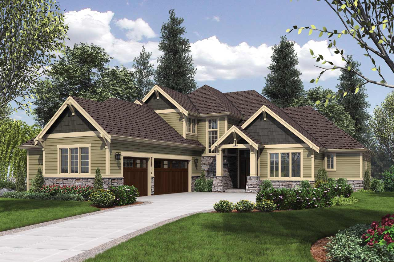 Craftsman Style Home Design Plan: 74-681