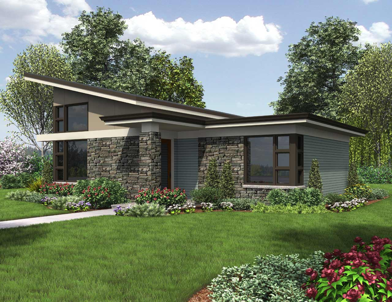 Contemporary Style House Plans Plan: 74-717