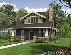Bungalow Style Home Design Plan: 74-722