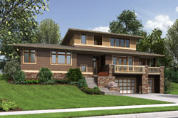 Contemporary Style Home Design Plan: 74-752