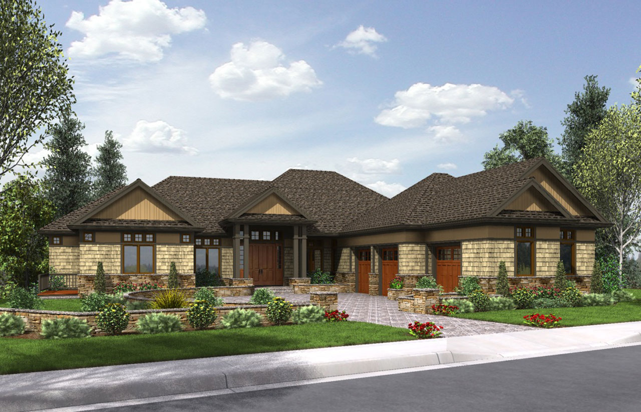 Country Style Home Design Plan: 74-753
