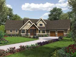 Craftsman Style Home Design Plan: 74-789