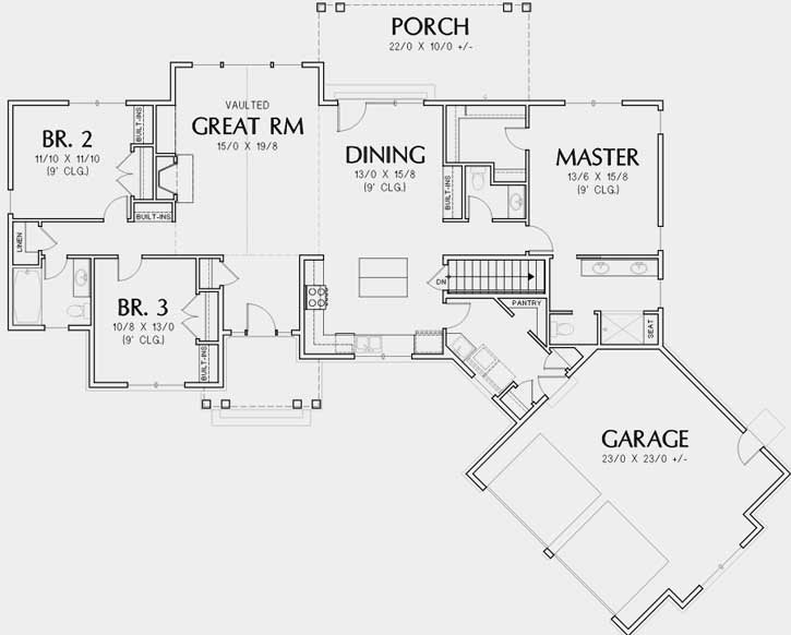 Craftsman Style House Plans 74-844