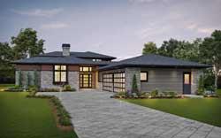 Contemporary Style Home Design Plan: 74-885