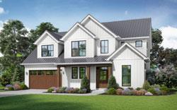 Modern-Farmhouse Style Home Design Plan: 74-905