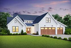 Modern-Farmhouse Style Home Design Plan: 74-907