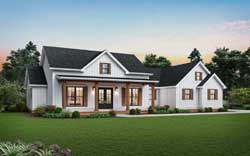 Modern-Farmhouse Style Home Design Plan: 74-909