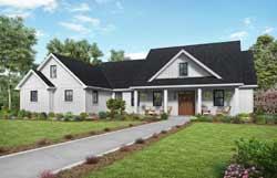 Modern-Farmhouse Style Home Design Plan: 74-910