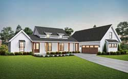 Modern-Farmhouse Style Home Design Plan: 74-914