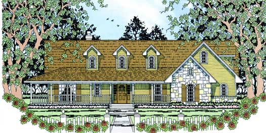 Country Style Floor Plans Plan: 75-334