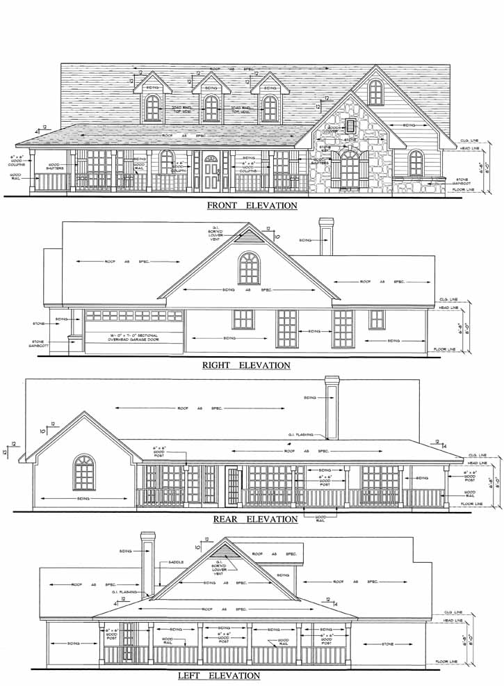Rear Elevation Plan: 75-334