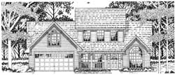 Country Style Home Design Plan: 75-379