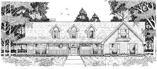 Farm Style Home Design Plan: 75-428