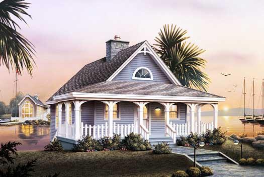 Cottage House Plan - 2 Bedrooms, 1 Bath, 1530 Sq Ft Plan 77-164