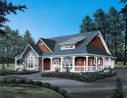 Country Style Home Design Plan: 77-180
