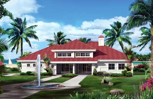 Florida Style Home Design Plan: 77-354